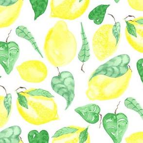 17-07H Lemon Tree Tropical Leaf Fruit Food Yellow Watercolor_Miss Chiff Designs