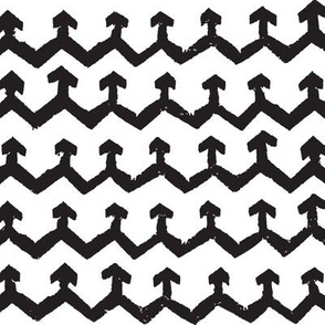 Block Print Monochrome Arrow Chevrons - Black on White