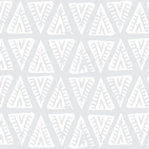 Block Print Monochrome Tipi Triangles - White Light Grey