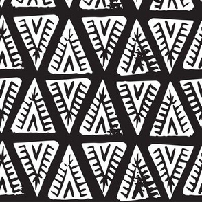 Block Print Monochrome Tipi Triangles