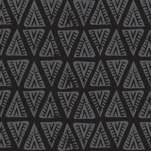 Block Print Monochrome Tipi Triangles - Black Charcoal