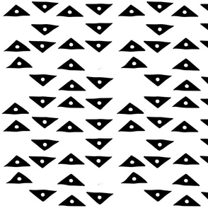 Block Print Monochrome Triangles Birds Eye