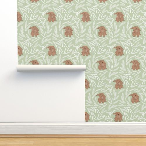 Wallpaper Baby Rabbit Pastel Green