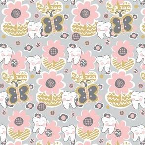 Blushing Pink Blooms / Spring-Summer Dental / Teeth-Smile Small-Med.