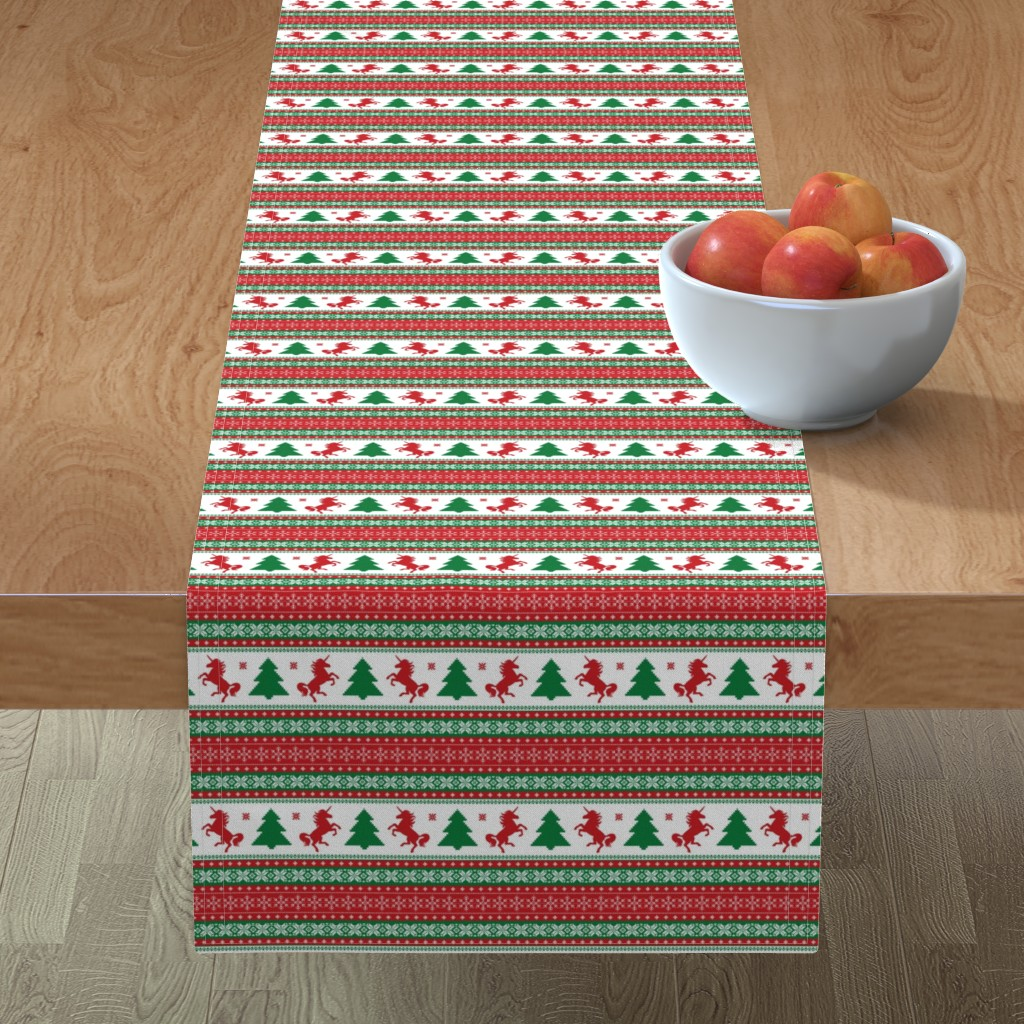 Minorca Table Runner featuring Ugly Christmas Sweater Unicorn - Fair Isle by ohdarkthirty