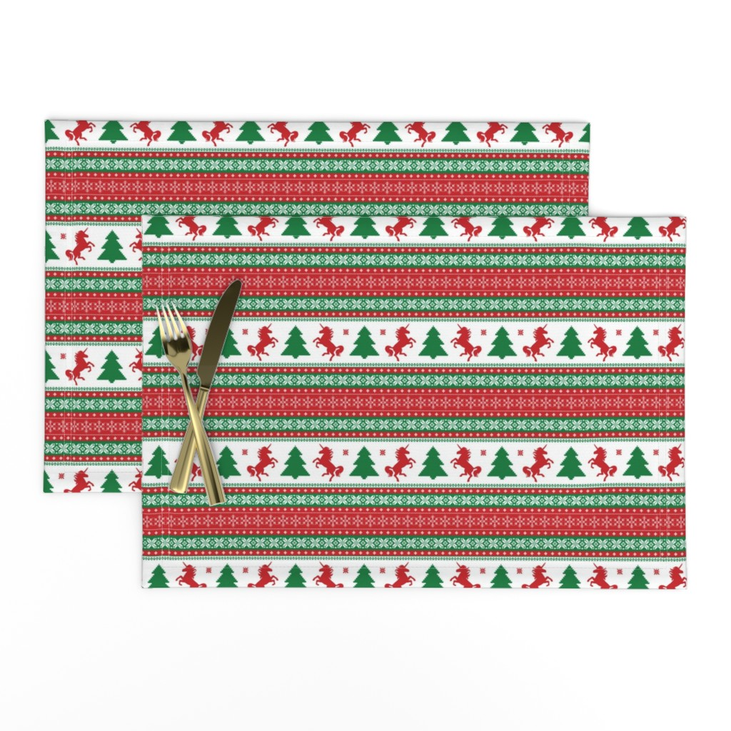 Lamona Cloth Placemats featuring Ugly Christmas Sweater Unicorn - Fair Isle by ohdarkthirty