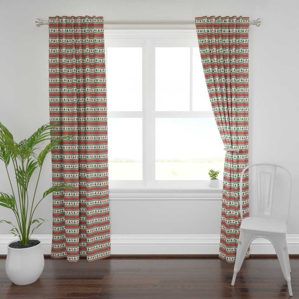 Plymouth Curtain Panel featuring Ugly Christmas Sweater Unicorn - Fair Isle by ohdarkthirty