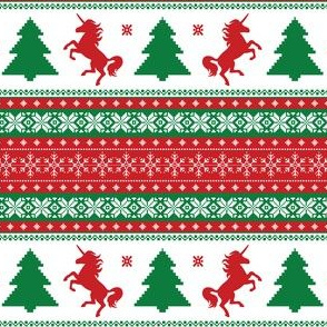 Ugly Christmas Sweater Unicorn - Fair Isle