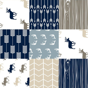 Rustic Woods Patchwork Fabric (moose and deer)