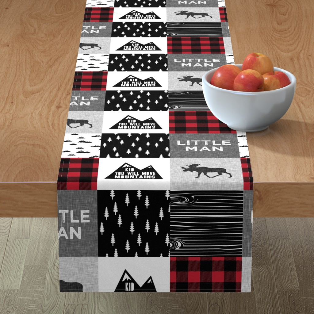 Minorca Table Runner featuring Little Man & You Will Move Mountains Quilt Top - buffalo plaid by littlearrowdesign