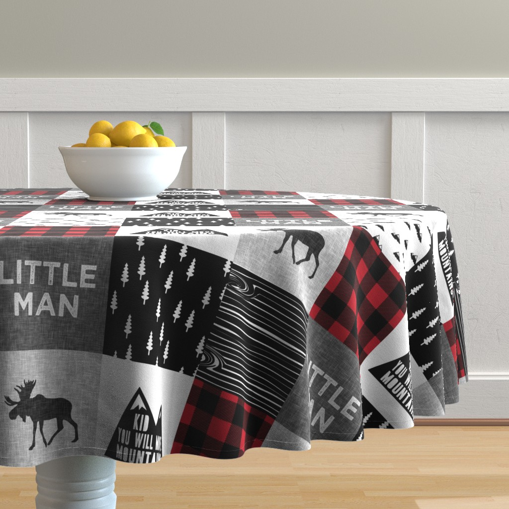 Malay Round Tablecloth featuring Little Man & You Will Move Mountains Quilt Top - buffalo plaid by littlearrowdesign