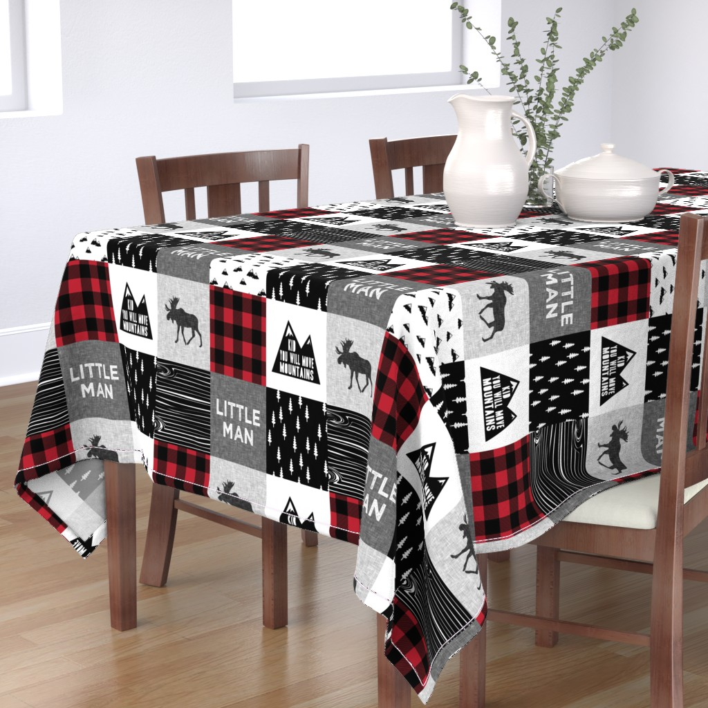 Bantam Rectangular Tablecloth featuring Little Man & You Will Move Mountains Quilt Top - buffalo plaid by littlearrowdesign