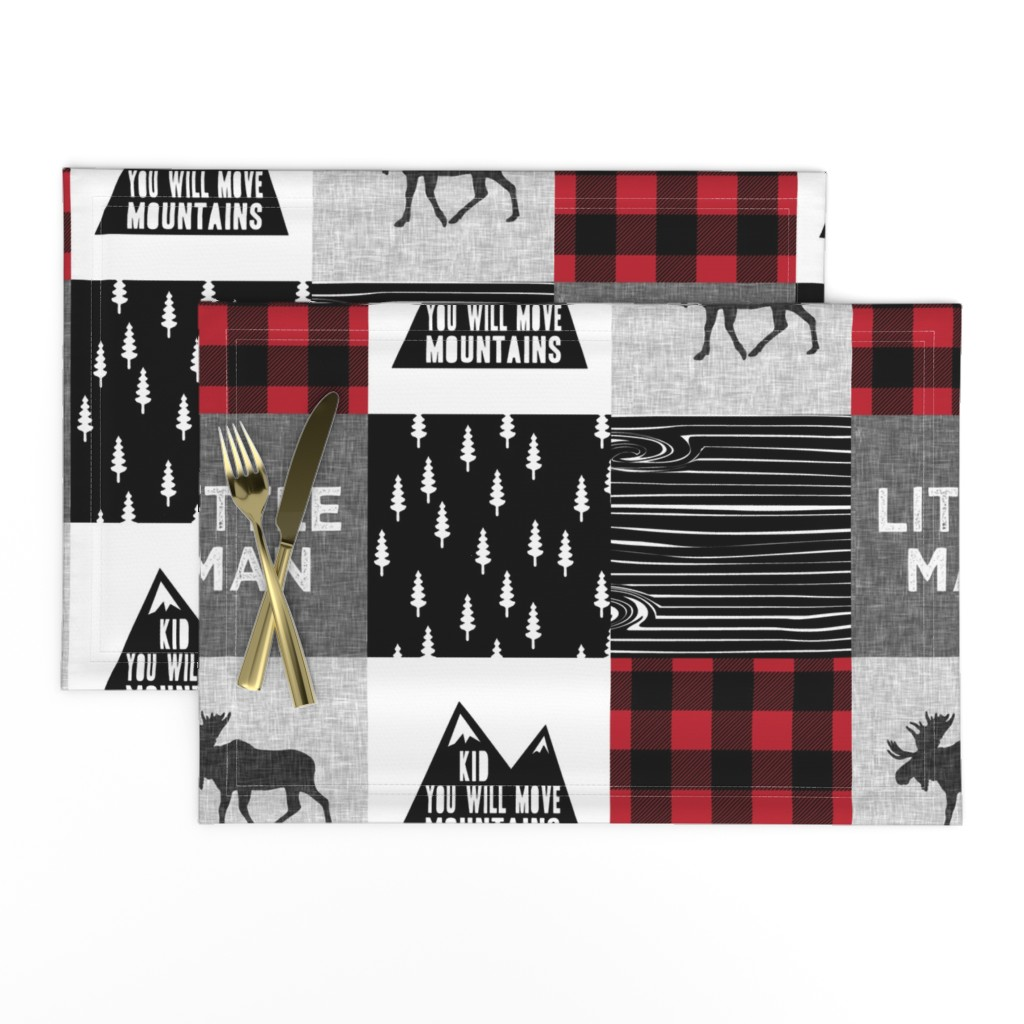 Lamona Cloth Placemats featuring Little Man & You Will Move Mountains Quilt Top - buffalo plaid by littlearrowdesign