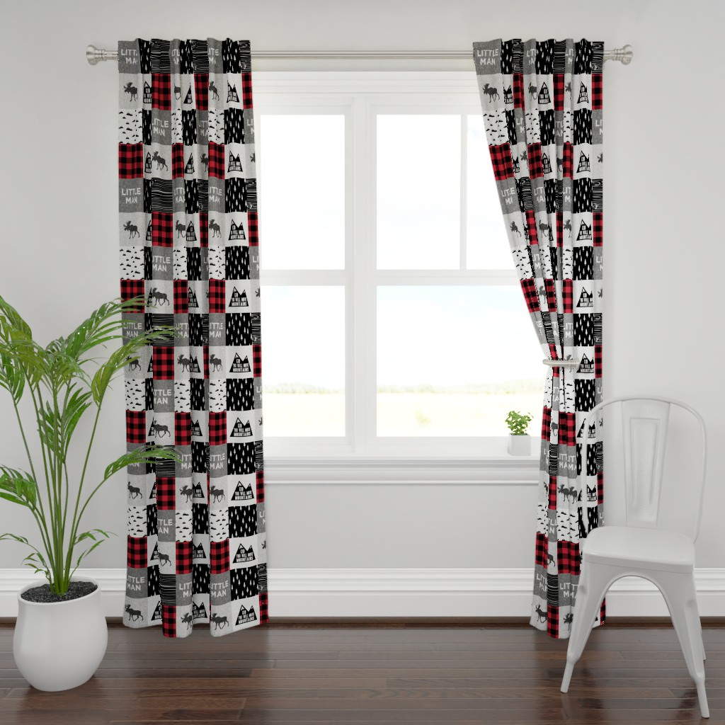 Plymouth Curtain Panel featuring Little Man & You Will Move Mountains Quilt Top - buffalo plaid by littlearrowdesign