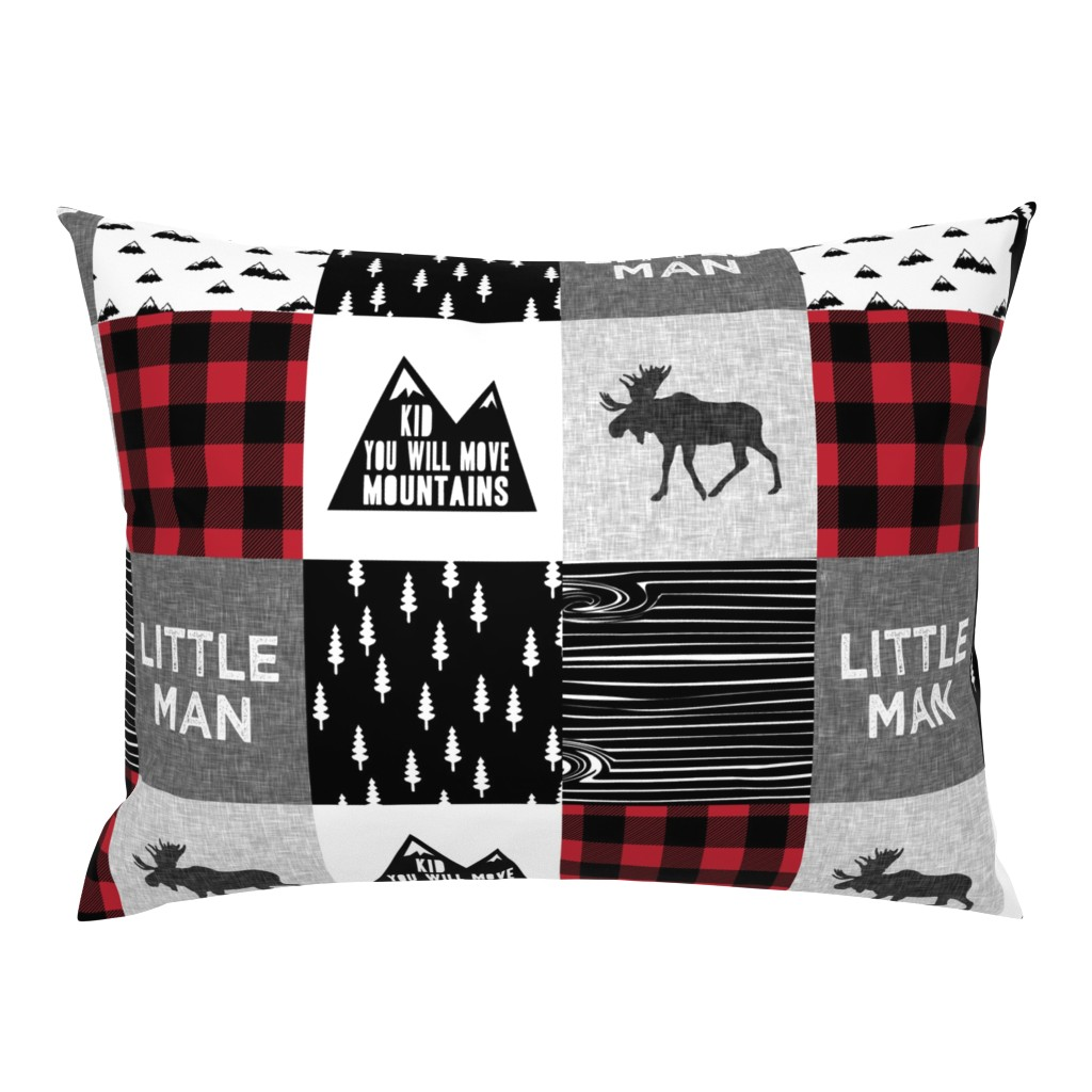 Campine Pillow Sham featuring Little Man & You Will Move Mountains Quilt Top - buffalo plaid by littlearrowdesign