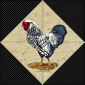 Silver Laced Wyandotte Rooster Dots Black On Point