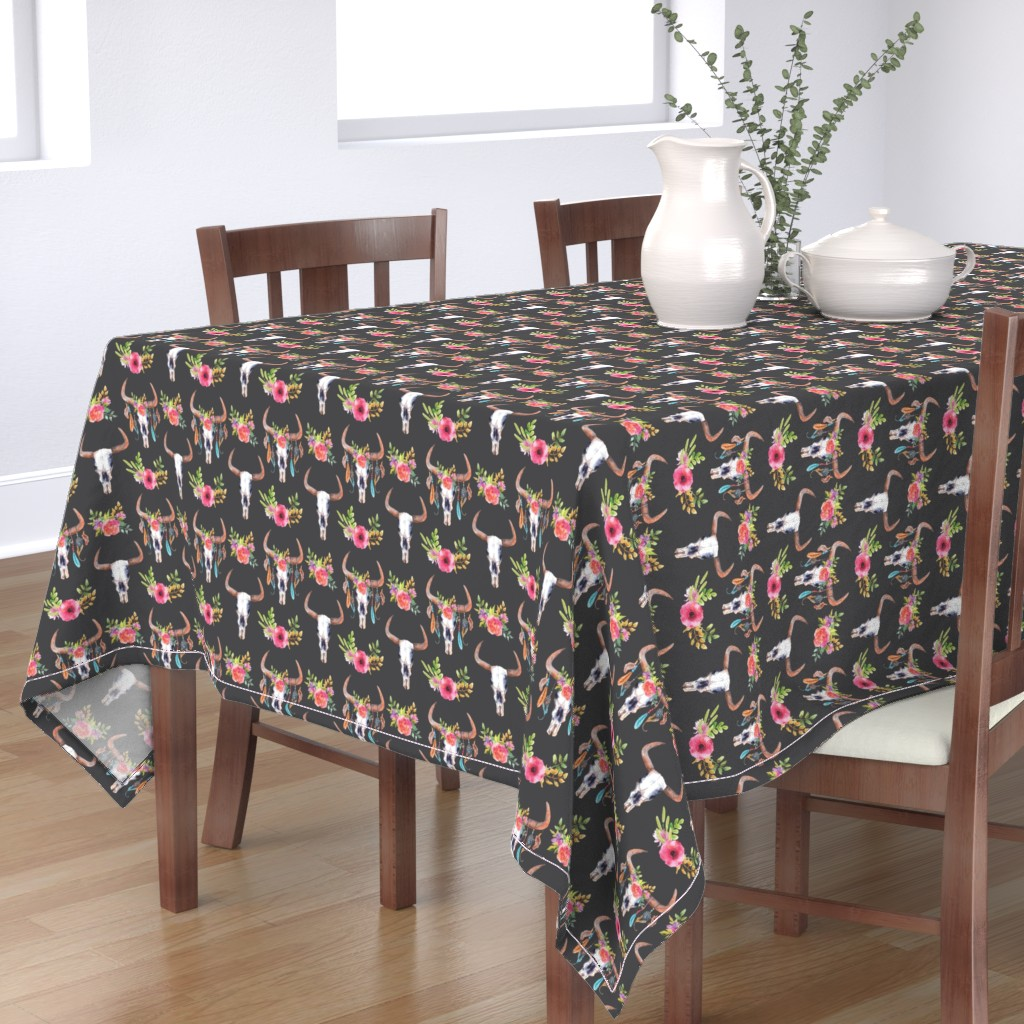 Bantam Rectangular Tablecloth featuring Flower Bull Skulls - Large by ohdarkthirty