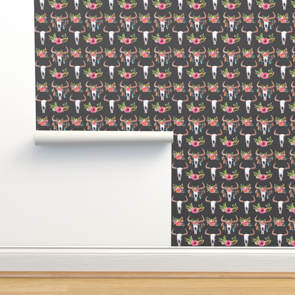 Isobar Durable Wallpaper featuring Flower Bull Skulls by ohdarkthirty