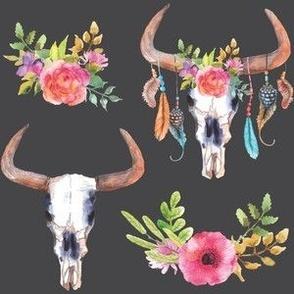 Flower Bull Skulls - Large