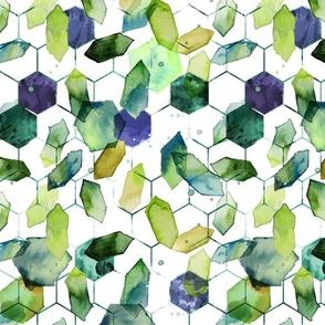 watercolor jade hexagons