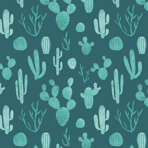 Blue cacti on teal