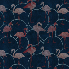 Walk with pink flamingos on indigo blue