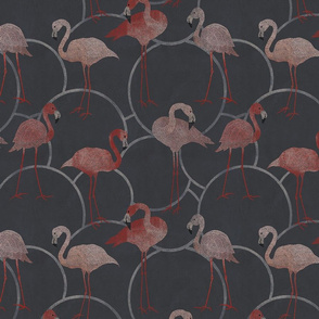 Walk with pink flamingos on chocolate brown