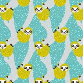 Sweet sloth tropical tree jungle animal print gender neutral spring