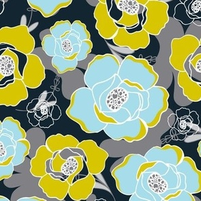 Katrien  - Modern Floral Black Blue & Green
