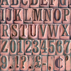 Vintage Rubber Stamps Alphabet - medium