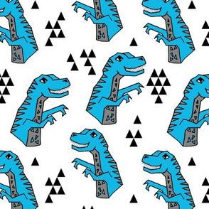 dinosaurs fabric // blue boys nursery dino fabric t-rex design andrea lauren