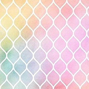 Pastel Rainbow Watercolor Ogee Pattern 1