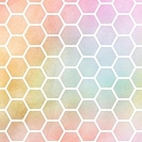 Pastel Rainbow Watercolor HoneyComb Pattern