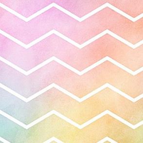 Pastel Rainbow Watercolor Chevron Pattern 2