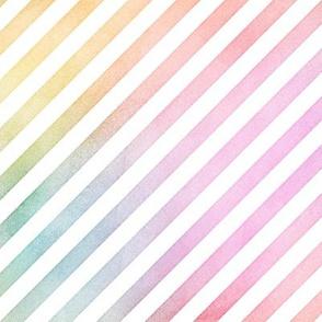 Pastel Rainbow Watercolor DiagonalStripes Pattern