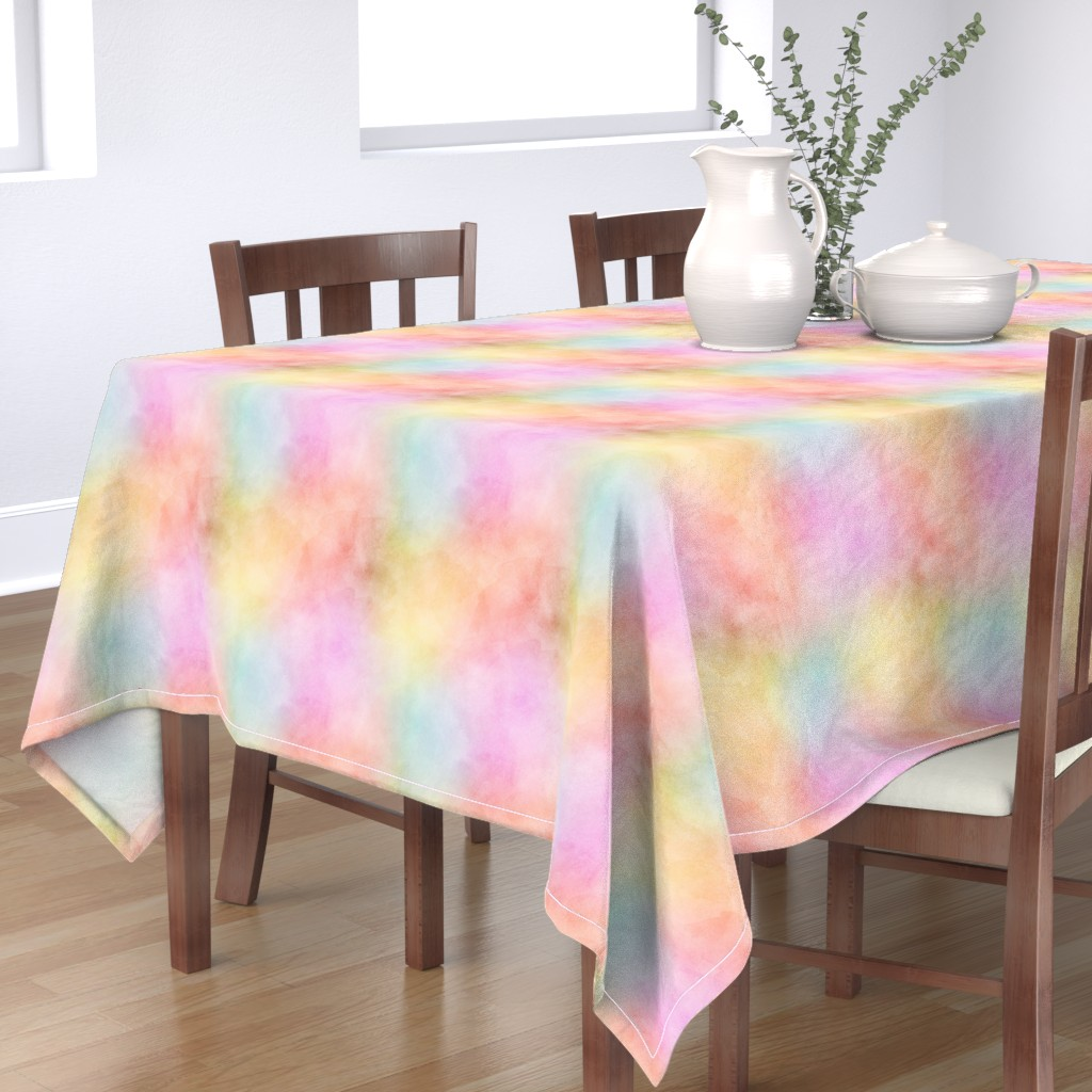 Bantam Rectangular Tablecloth featuring Pastel Rainbow Watercolor Pattern by raccoongirl