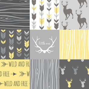 Patchwork Deer- Wholecloth Quilt - Baby Yellow and Greys - Little One - Wild and Free