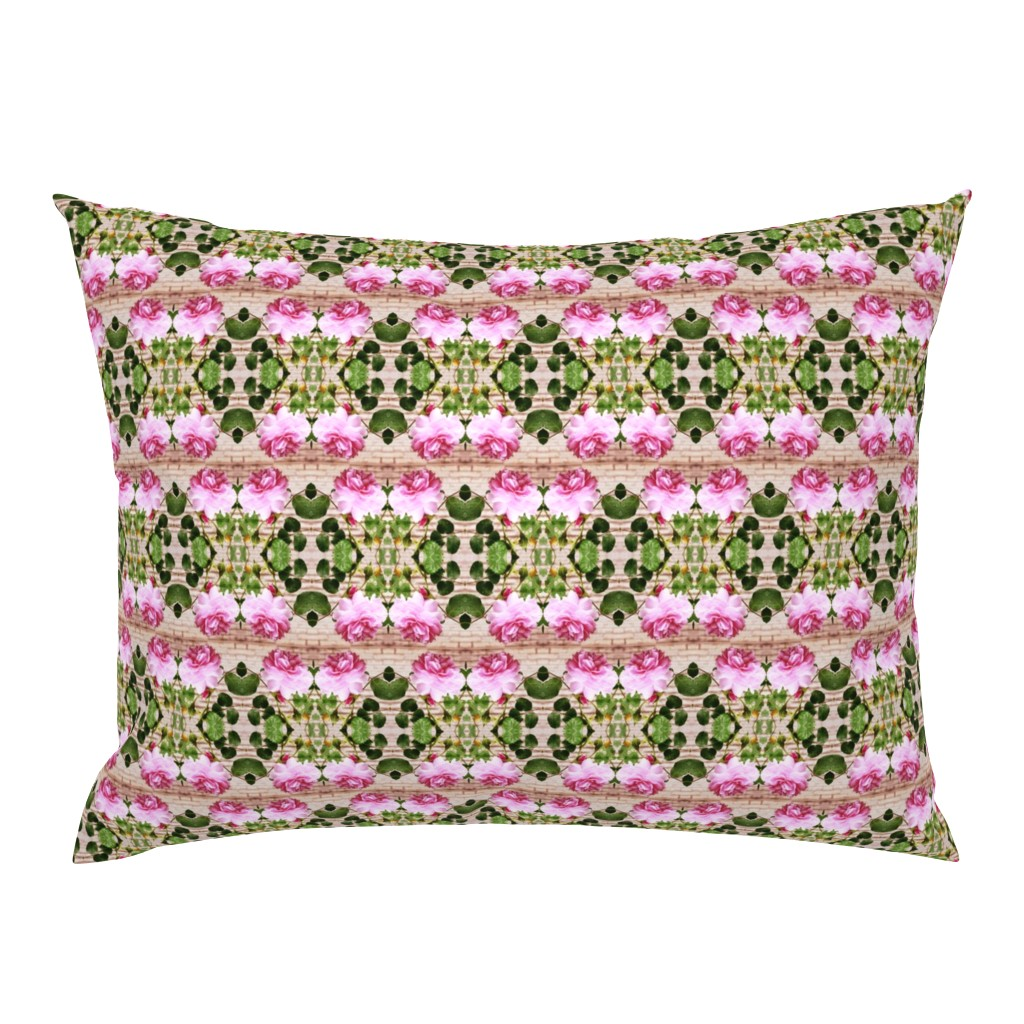 Campine Pillow Sham featuring Pink Rose Crosswise Stripes by maryyx