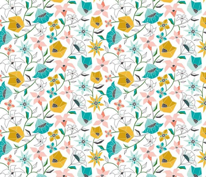 Calliope - Geometric Floral Aqua Pink & Gold