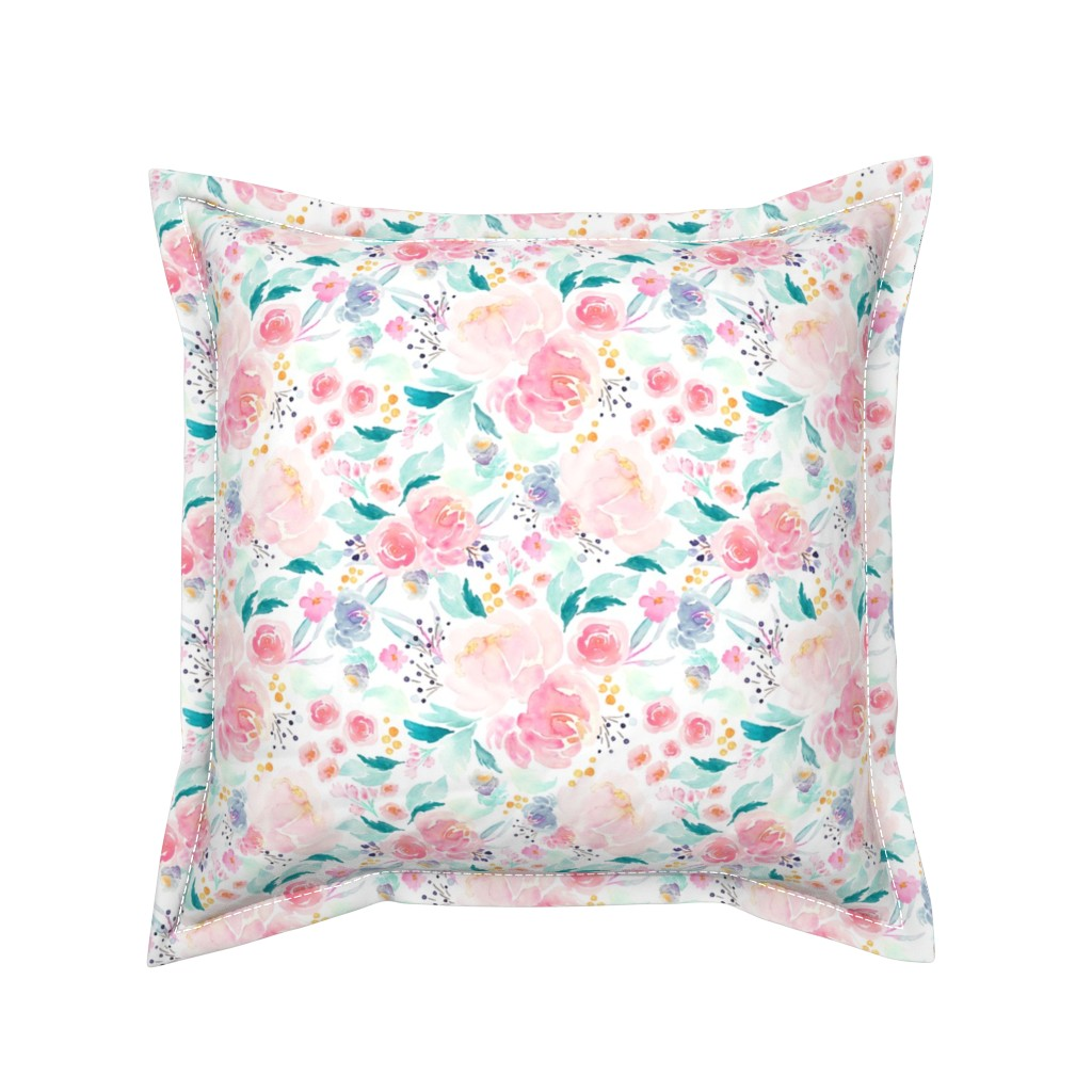 Serama Throw Pillow featuring Indy Bloom Design Mermaid Lagoon B by indybloomdesign