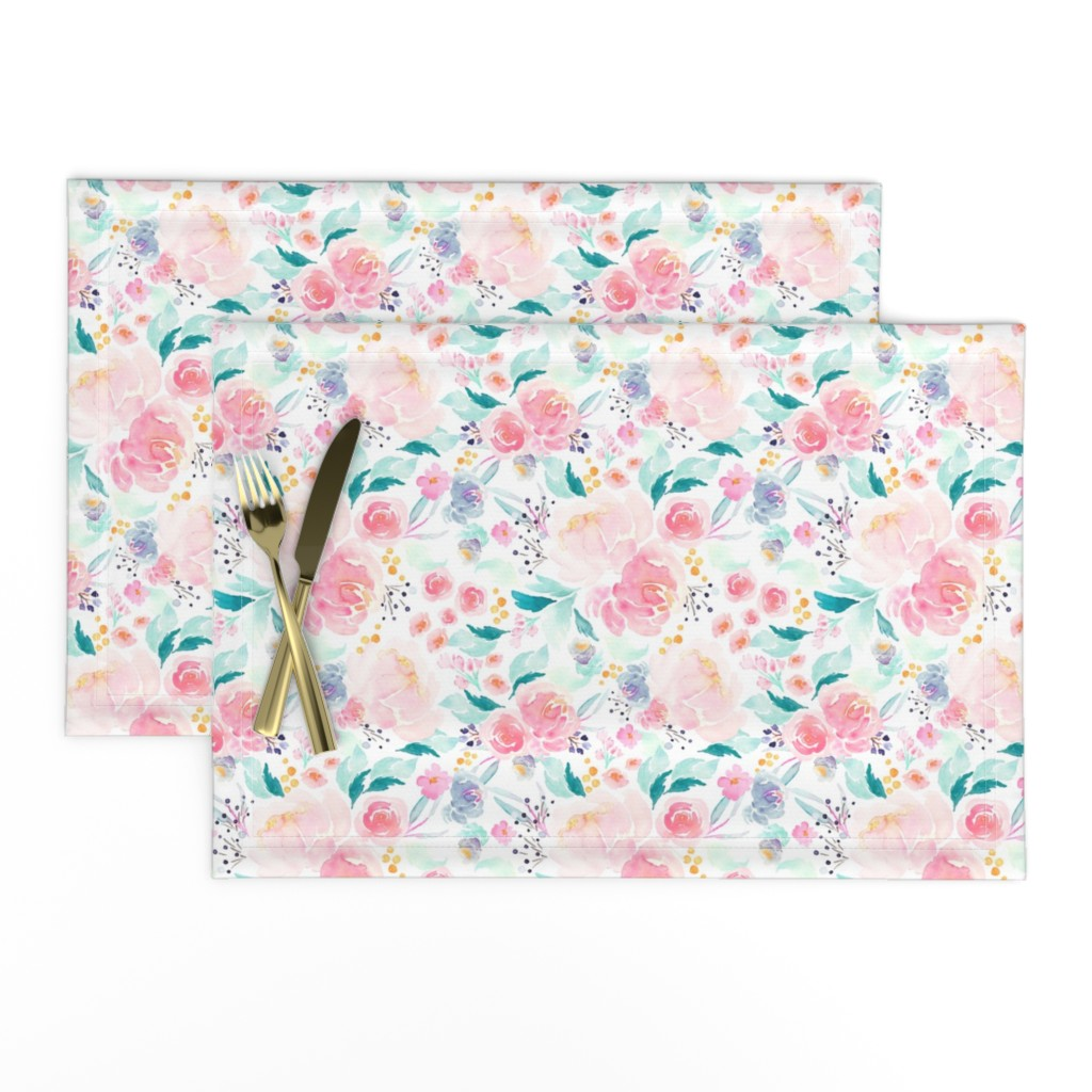 Lamona Cloth Placemats featuring Indy Bloom Design Mermaid Lagoon B by indybloomdesign