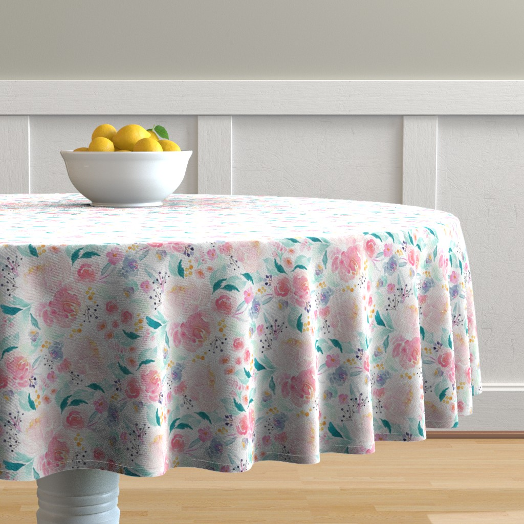 Malay Round Tablecloth featuring Indy Bloom Design Mermaid Lagoon B by indybloomdesign