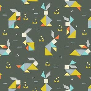 Tangram Bunnies M+M Stone Grey by Friztin