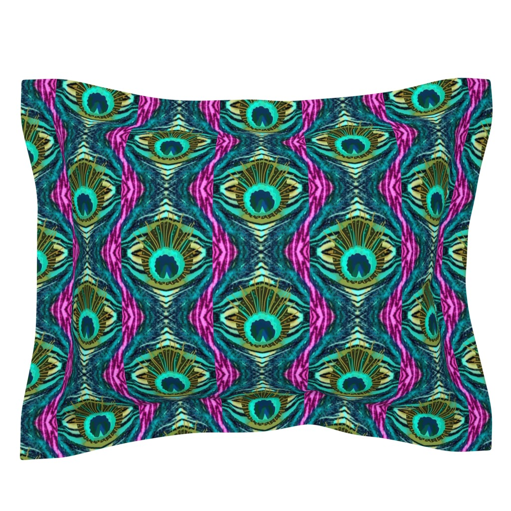 Sebright Pillow Sham featuring Pink Zebra Peacock  Abstract   by franbail