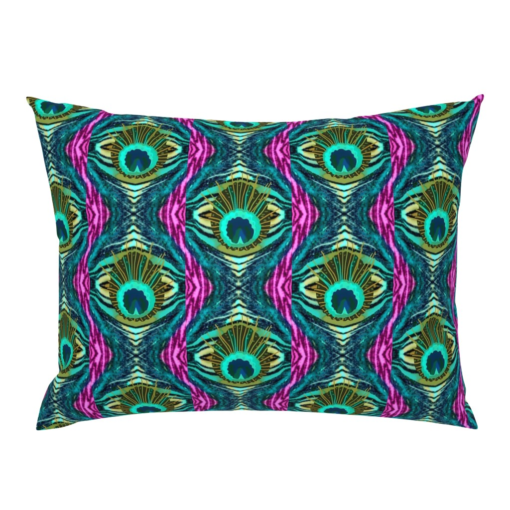 Campine Pillow Sham featuring Pink Zebra Peacock  Abstract   by franbail