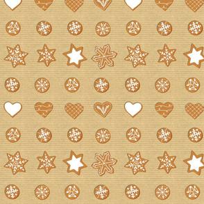 Winter Cookies on brown paper - grid