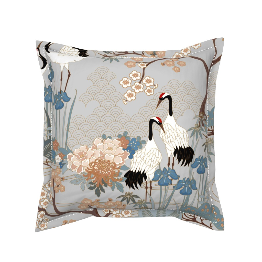 Serama Throw Pillow featuring large scaleJapanese Garden Grey 24in by juditgueth
