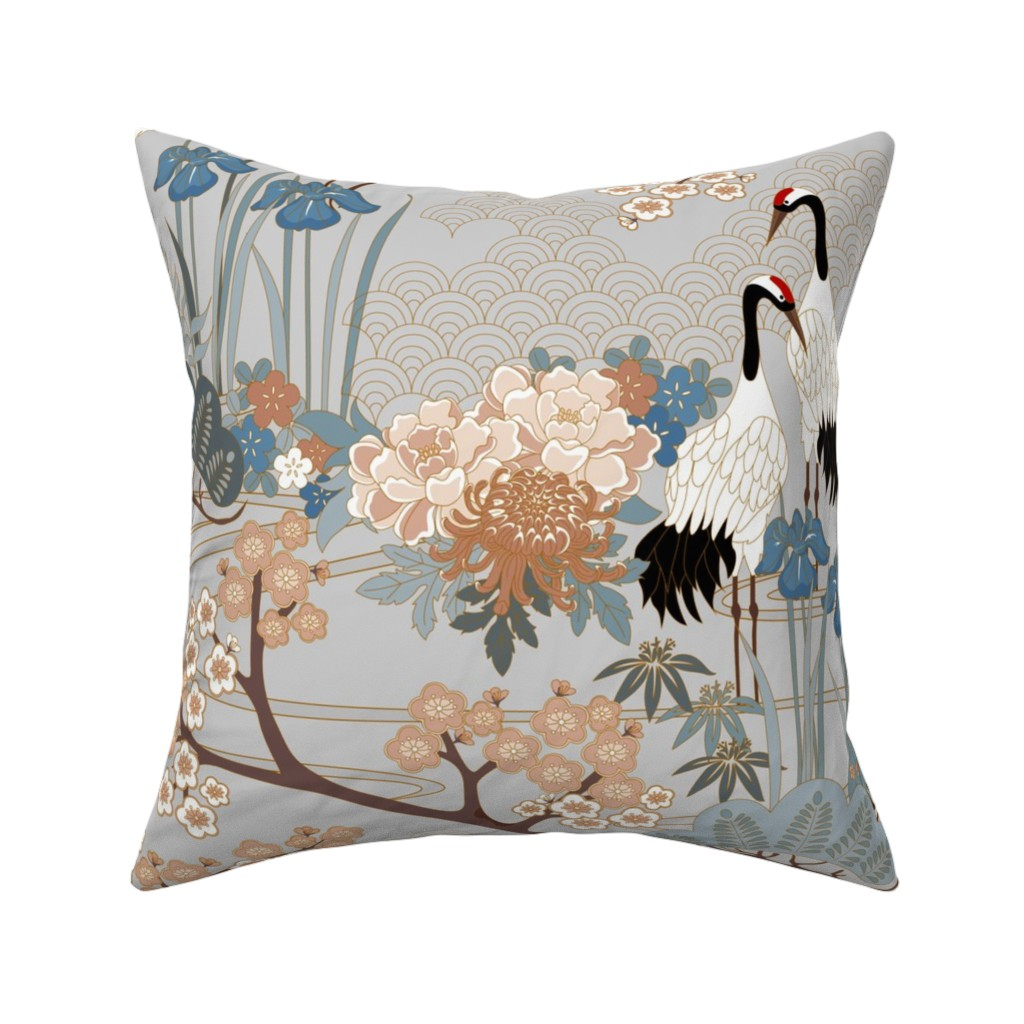 Catalan Throw Pillow featuring japanese_garden_gray_24in by juditgueth