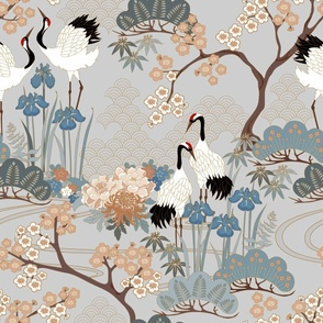 large scaleJapanese Garden Grey 24in