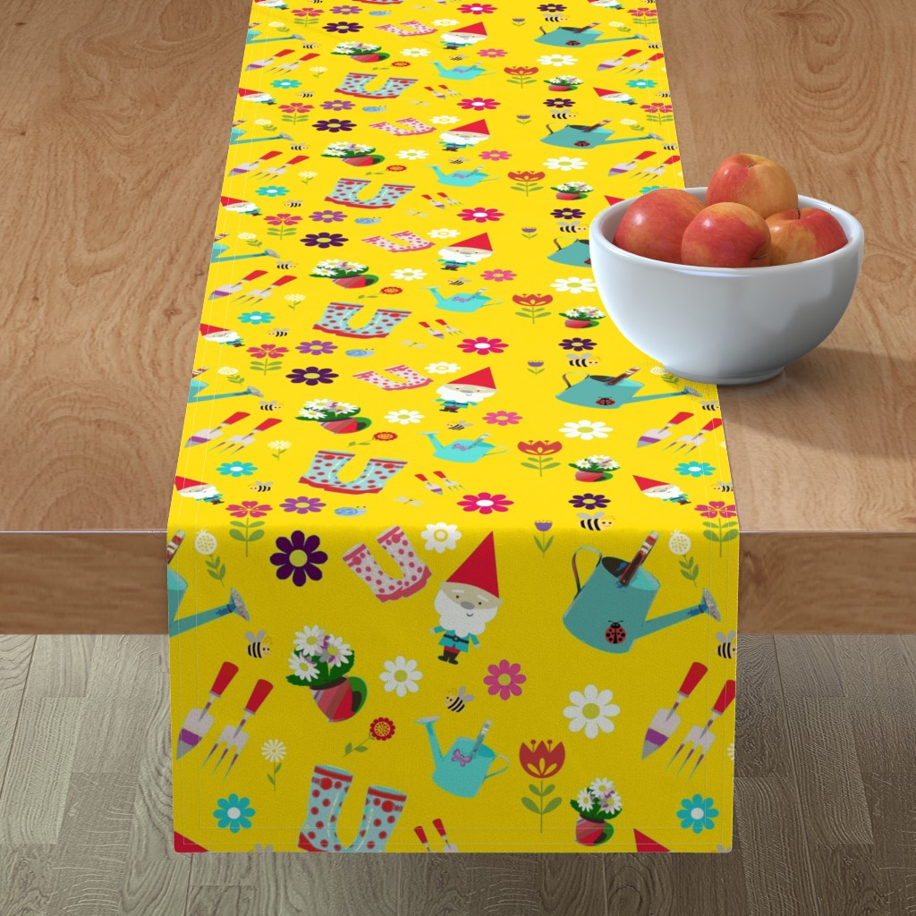 Minorca Table Runner featuring Love makes the Garden Grow by floramoon